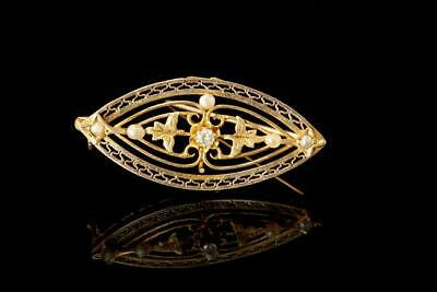 Antique Edwardian Diamond Seed Pearl 10K Gold Filigree Pin Brooch A73870