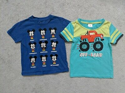 Boys Toddler Lot Of 2 Shirts, Mickey Mouse, Truck, Size 3T