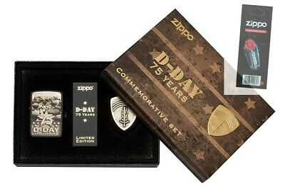 Zippo 29930 75th Anniversary D-Day Commemorative Limited Ed Lighter + Flint Pack