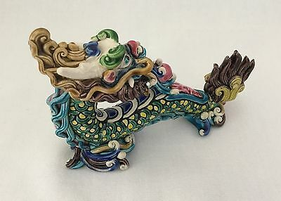 Feng Shui Chinese Dragon Ceramic Figurine In Silk Box-Signed               *755