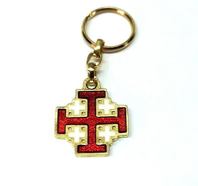 Jerusalem Cross Keychain Red / Gold Tone Pendant, Crusader Cross Holy Bible Land