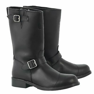 Oxford Cruiser Motorcycle Motorbike Waterproof Leather Touring Boots - Black
