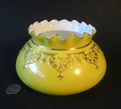 "Antique Old ROYAL CROWN DERBY Porcelain Yellow Gold Gilt 6.5"" Ruffled Squat Vase"