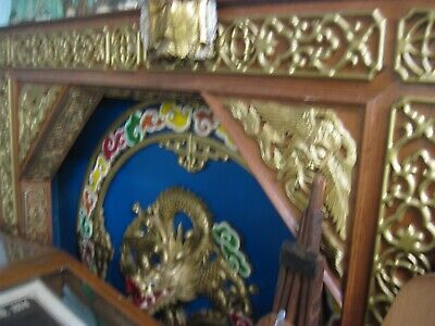 """Pair Antique Hand-Carved Wood Chinese Dragon Wall Panels 66""""x66"""" red blue gold"""