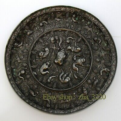 Chinese antique Tang Dynasty sea beast grape mirror bronze mirror copper mirror