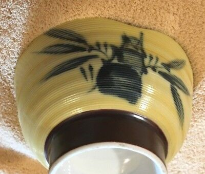 Antique Rice Bowls Oriental Japanese Chinese Soup BAMBOO Hand Painted Asian art