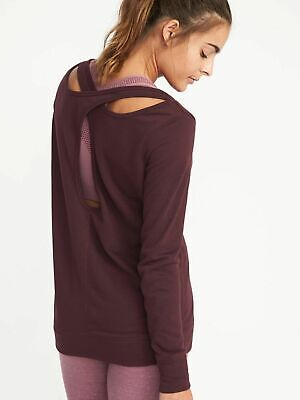 Old Navy Women's Relaxed French-Terry Keyhole-Back Sweatshirt Gray Black M