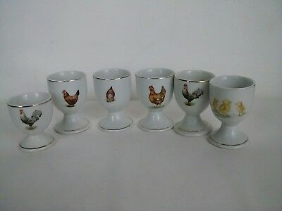 X6 Vintage Egg Cups chickens hens cockerel and chics China Egg Cups