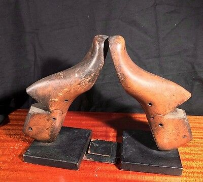 Antique Victorian Bookends Shoe Lasts Solid Wood Vulcan Industrial Steampunk Art