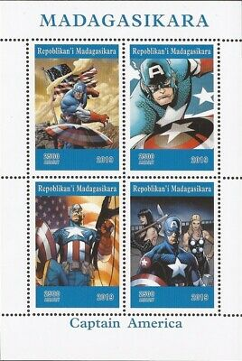 Madagascar - 2019 Captain America - 4 Stamp Sheet - 13D-233