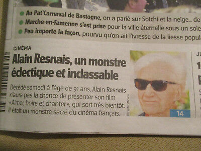 Journal Du Deces De : Alain Resnais - 03/03/2014 -