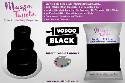 Massa Taffeta Fondant Sugar paste Ready to Rolled Icing Cake Craft | Voodo Black