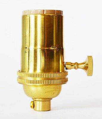Polished Brass Light Socket Vintage Style - Rewire Lamp Parts - Solid Brass
