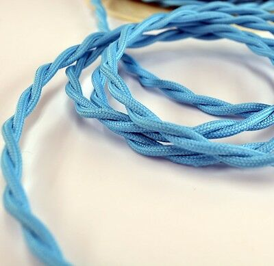Sky Blue Cloth Covered Twisted Wire - Retro Lamp Cord - Pendant Light -