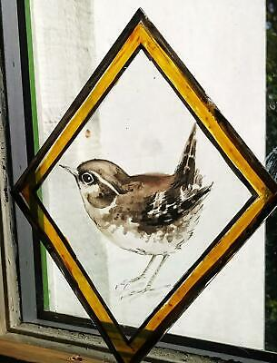 Stained Glass - Wren bird diamond glass pane kiln fired