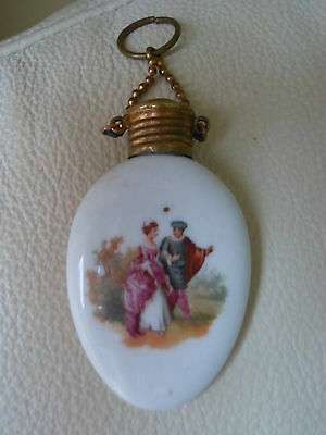 Antique brass topped chatelaine porcelain perfume/scent bottle.