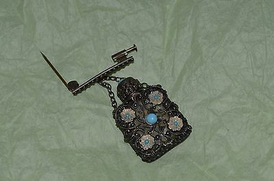 Antique brooch perfume bottle silver filigree  with clear glass & blue flowers