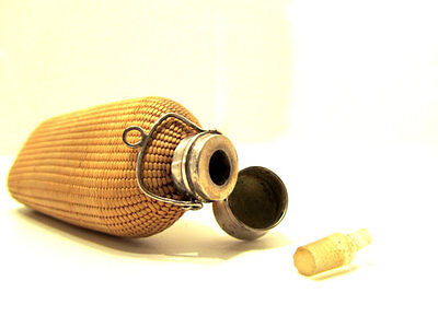 1800's Rare Antique French Rattan/Wiker Silver Glass Scent Perfume Bottle