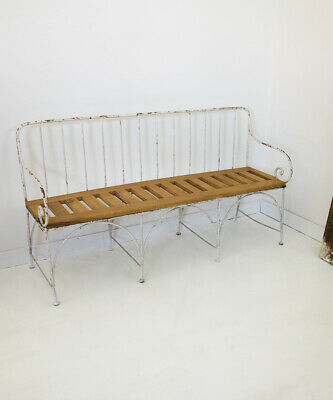 Antique Wrought Iron Garden Bench Distressed Paint