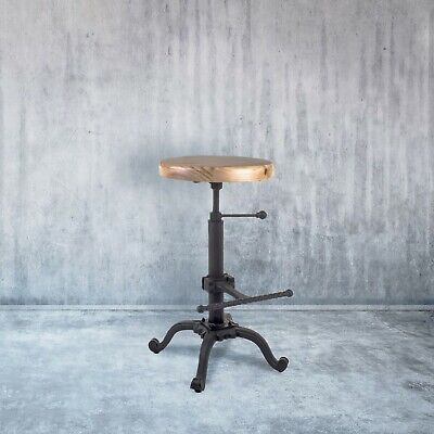 Cast Iron & Pine Bar Stool Industrial Style Kitchen Seat Urban Rustic Chair