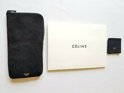 Celine Paris Black Zippered Sunglass Case With Cleaning Cloth & Envelop