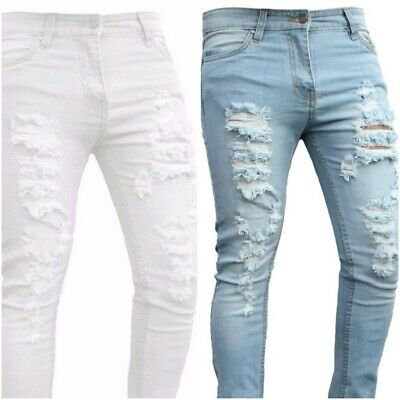 Men Ripped Skinny Slim fit White Grey Black Blue Stretch Denim  Biker boys Jeans