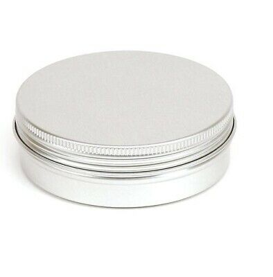 10 x 100ML Silver Round Aluminium Tin Container EPE Lined Screw Lid FOOD SAFE