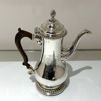 Antique George III Sterling Silver Coffee Pot London 1763 Thomas Whipham & Charl