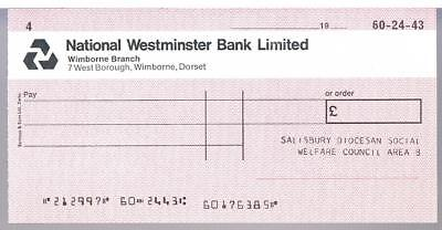 Unused National Westminster Bank Limited Cheque C1970 Salisbury Diocesan