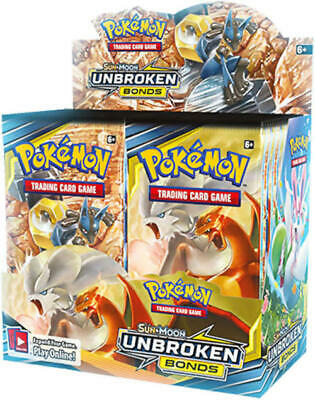 Pokemon Unbroken Bonds 9 Booster Pack Lot 1/4 Booster Box Pokemon TCG Sun & Moon