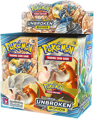 Pokemon Unbroken Bonds 18 Booster Pack Lot 1/2 Booster Box Pokemon TCG Sun Moon