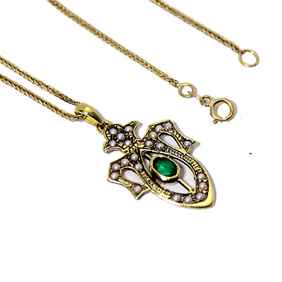 14k gold pendant with emerald and pearls. vintage victorian antique design.