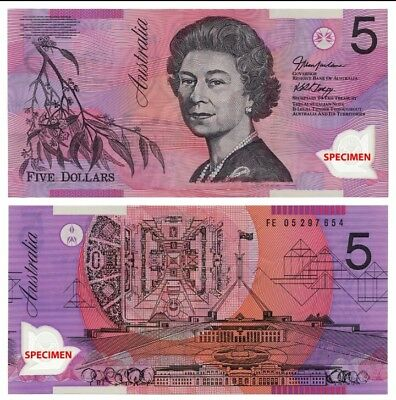 1 x AUSTRALIAN  $5 Dollar Bill Note  Birthday Gift, Wedding Favour. NEW MINT $$$