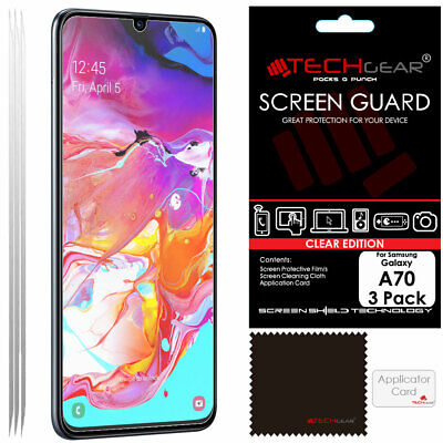 3 Pack of TECHGEAR CLEAR Screen Protector Covers For Samsung Galaxy A70