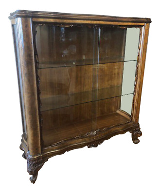 Vintage Walnut Art Deco Display Cabinet Made in England