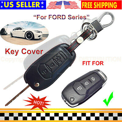 Genuine Leather 3 Buttons Keyless Remote Car Key Fob Case Skin Cover for FORD...