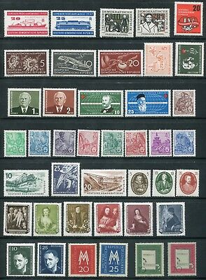 x65 - East GERMANY DDR 1957 COMPLETE YEAR SET w. Airmails Semi-Postal Stamps MNH
