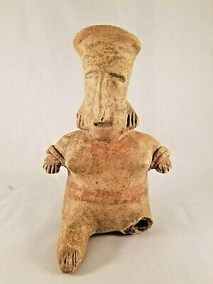 Amazing Pre-Colombian Ceramic Figure of a Lady - As Is