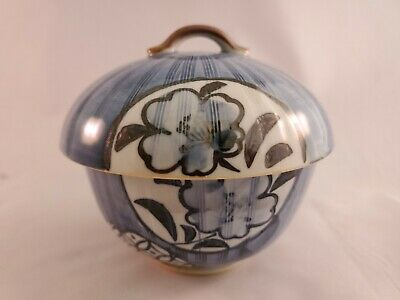 Beautiful Vintage Chinese Blue Glazed Porcelain Bowl With Lid - Inscribed