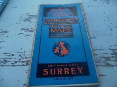 Bartholomews Revised half inch contoured map Surrey
