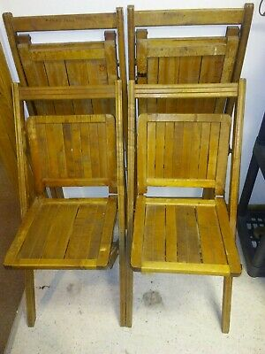 4 Matching Vintage Wooden Folding Chairs Wood Slat Seats Antique 1898 PAT. WOW!