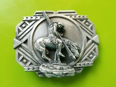 Vintage 1988 End of the Trail Belt Buckle #V-80 Native American Indian on Horse