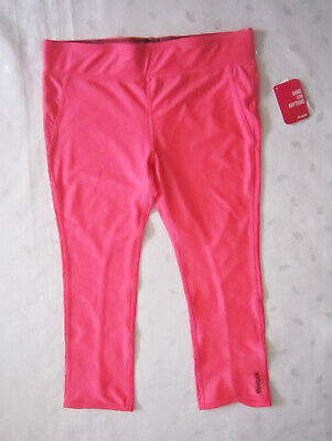 NWT Reebok Girls Cropped Yoga Pants Legging in Shiny Pink Size XL / X-Large (16)