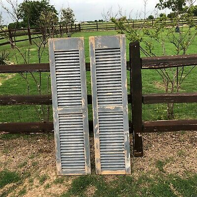 Vintage Pair Old  Wooden Window Shutters ~ Architectural Salvage  Original Paint
