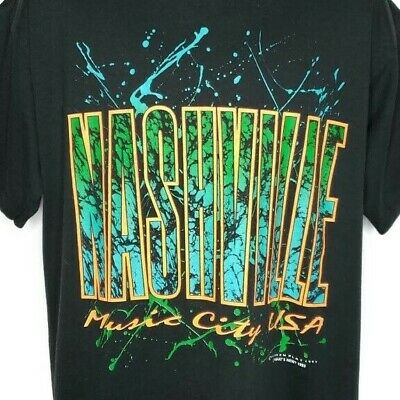 Nashville Music City T Shirt Vintage 90s Tennessee Screen Stars Made In USA XL