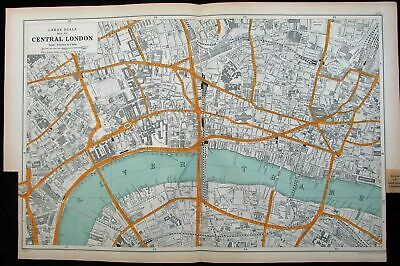 Central London Thames River St. Paul's Charring Cross 1911 detail city plan map