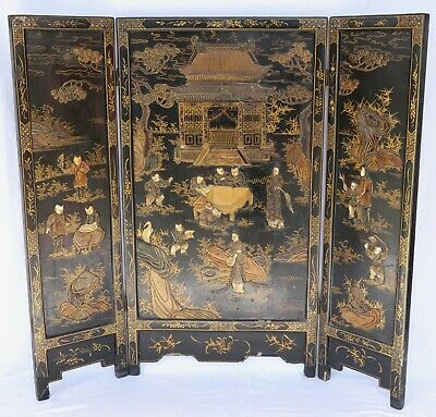 18th Century Chinese Lacquered Folding Screen w Carvings, Insets
