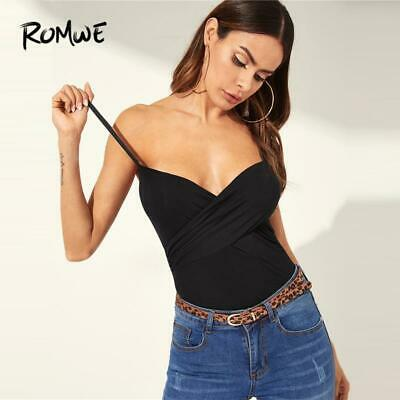 2460511808f ROMWE Cross Wrap Fitted Camis Top 2019 Women Sexy Stylish Black Plain  Spaghetti