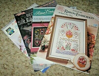 Lot Of 4 Silk Ribbon Embroidery Booklets~Beginner & One Day~Sc~Gd/Vgc~~Lot #B