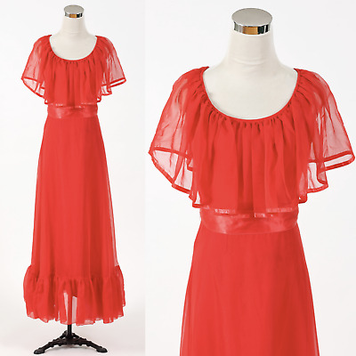Vintage 1970s floaty red chiffon maxi dress RETRO HOSTESS 70s PARTY